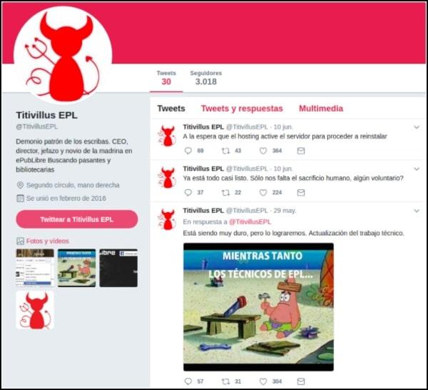 Cuenta Titivillus EPL en Twitter