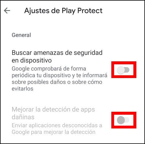 desactivar Play Protect