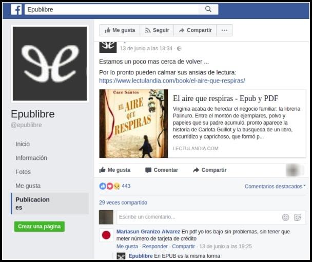 Facebook falso de Epublibre