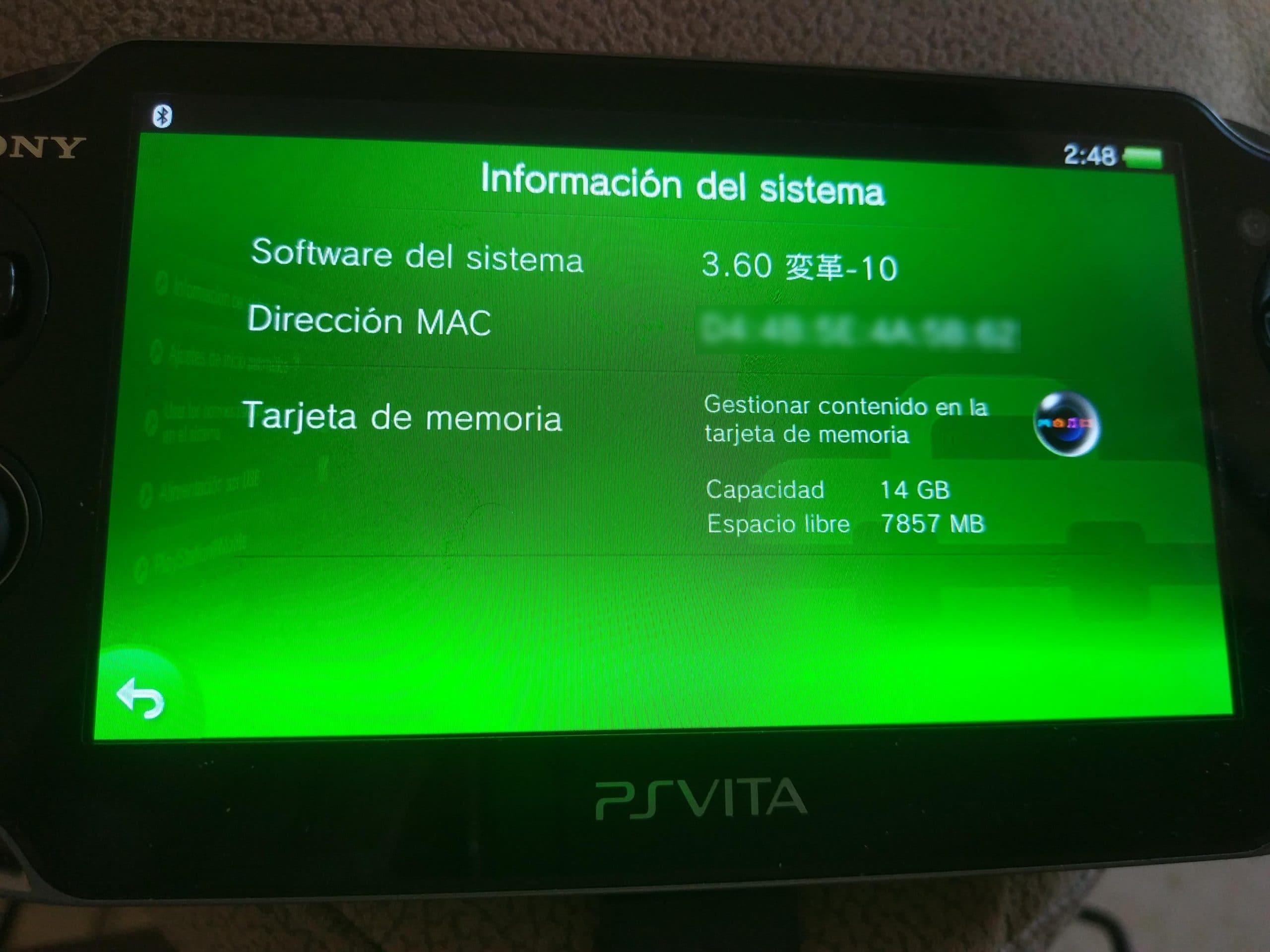 versión 3.60 de PS Vita