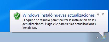 Windows 7 instaló actualizaciones