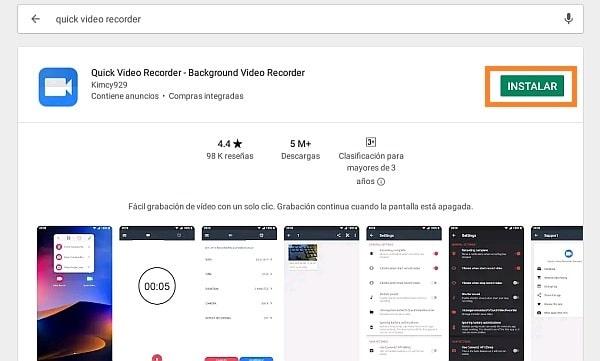 Grabar vídeo en Android con la pantalla apagada 1