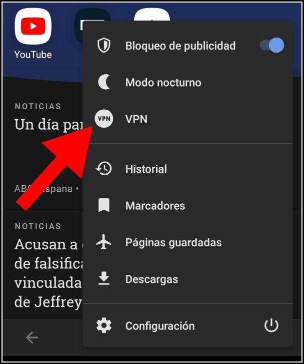 Activar VPN en Opera Mobile con Android