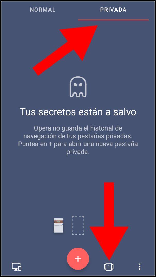 Navegación privada en Opera para Android
