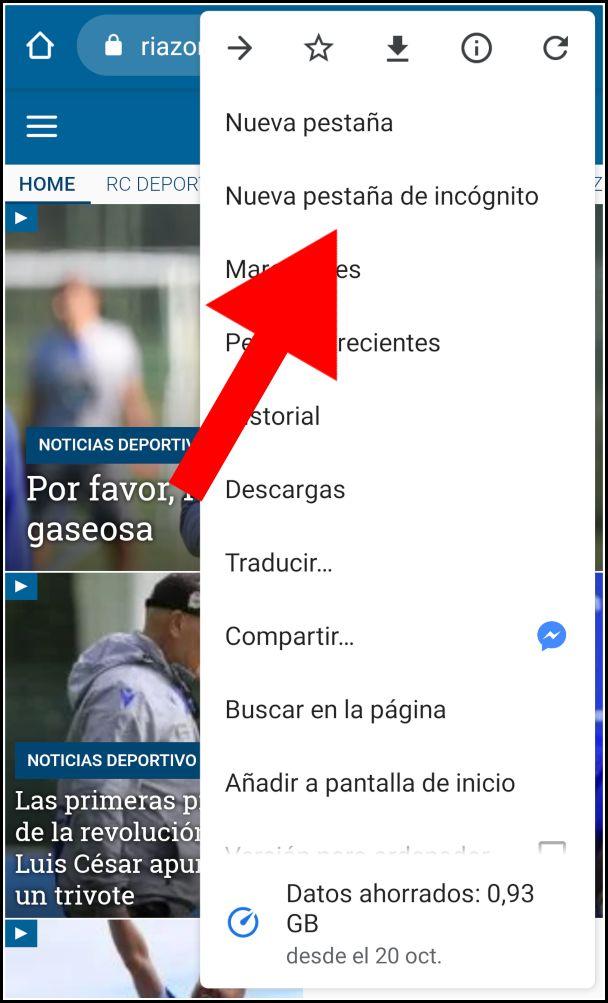 Nueva pestana de incógnito en Chrome para Android