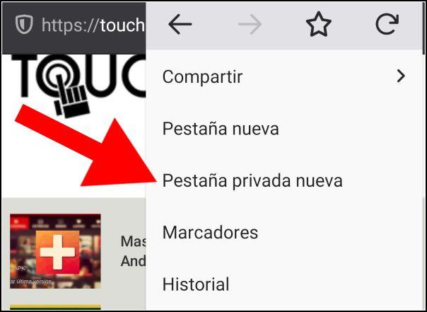 Pestaña privada nueva en Firefox para Android