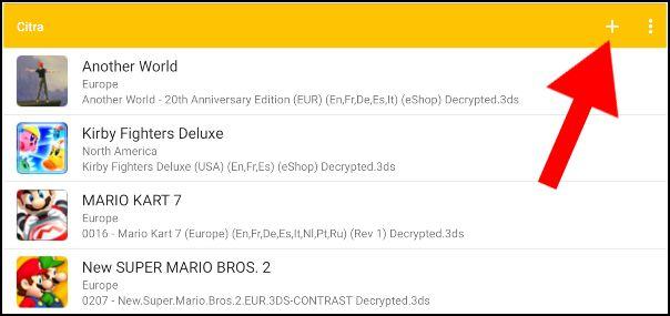 Añadir juegos Citra Android