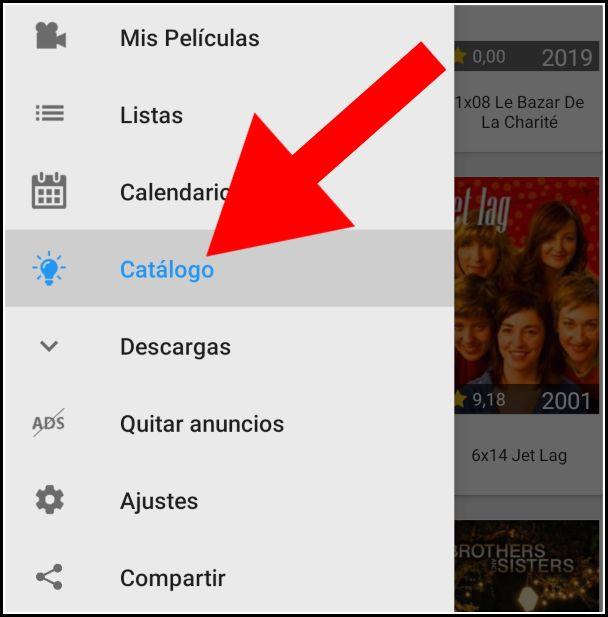 catálogo de series y películas de Megadede para Android