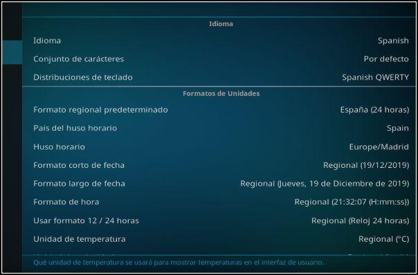 Configuración regional para España en Kodi