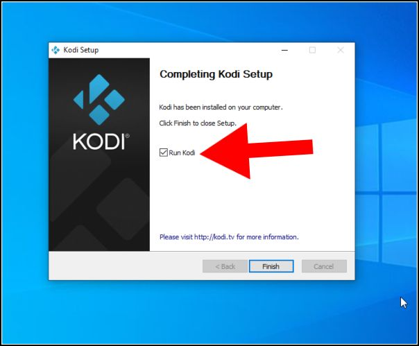 finalizar instalación Kodi en Windows