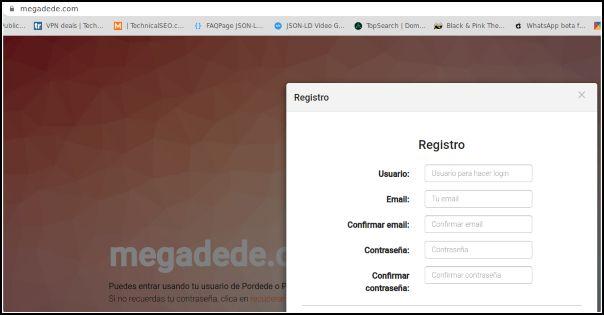 Registro en Megadede