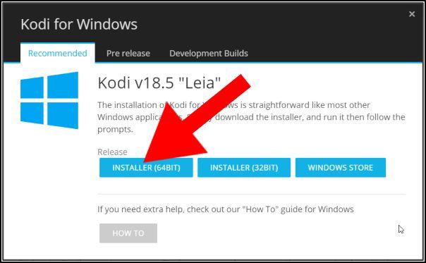 Seleccionar versión Kodi Windows