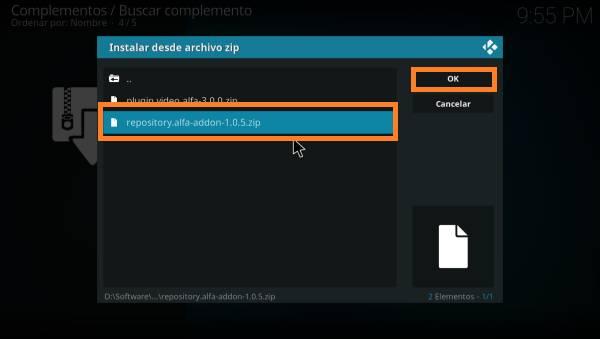 instalar archivo zip