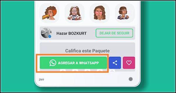 Agregar stickers para WhatsApp Aero