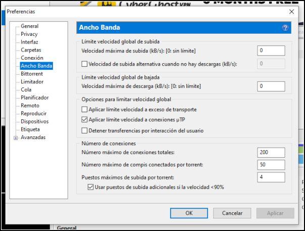ancho de banda uTorrent