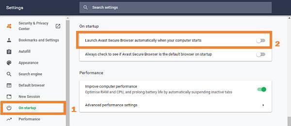 iniciar Avast al inicio de Windows
