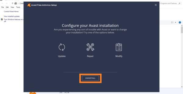 confirmar desinstalación de Avast