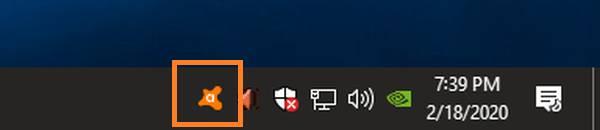 Icono de Avast en la barra de tareas