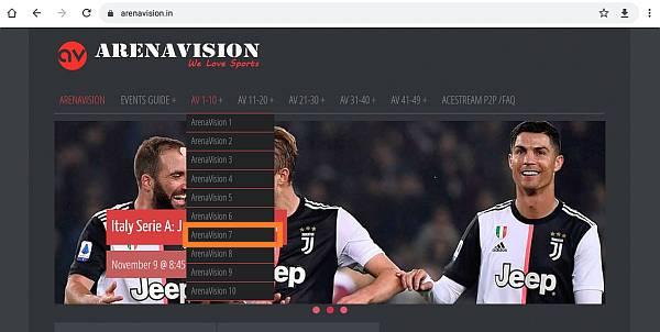 página principal de Arenavision