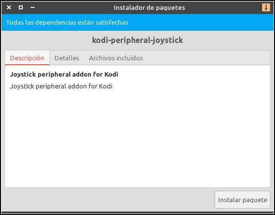 instalar Kodi Peripheral Joystick