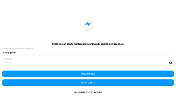 iniciar sesión Messenger Lite