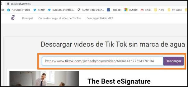 descargar vídeo tiktok para pc