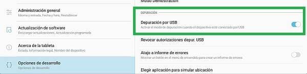 activar depuración USB