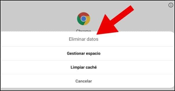 borrar datos app Android