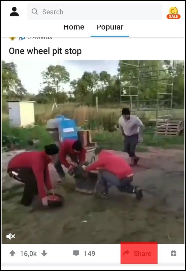 botón share para vídeo de Reddit