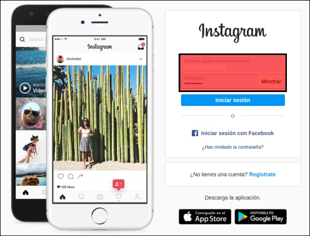 iniciar sesión en Instagram Web